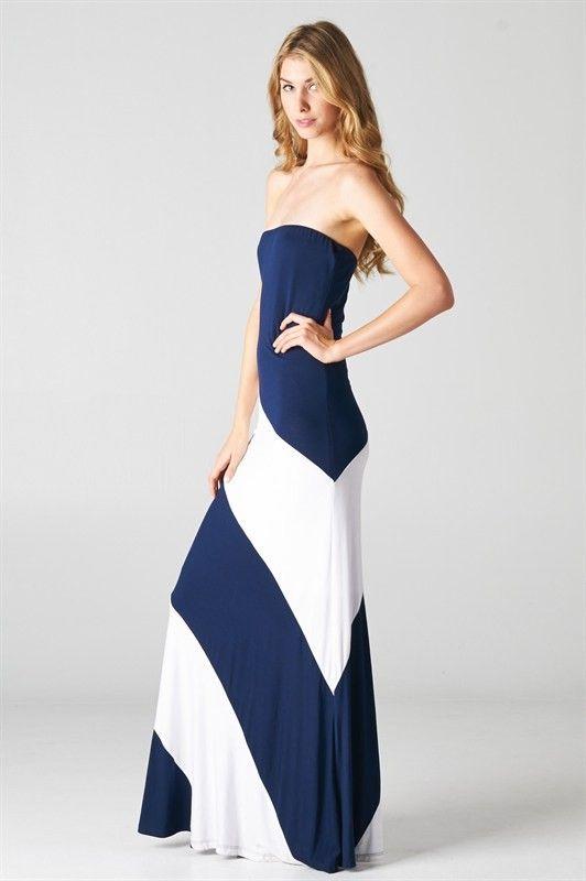 NanaMacs Vintage Boutique - NAVY & WHITE COLORBLOCK NAUTICAL MAXI DRESS http://www.nanamacs.com/navy-white-colorblock-nautical-maxi-dress/