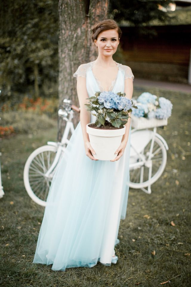 Powder blue wedding dress | Anastasiya Belik Photography | http://burnettsboards.com/2013/12/powder-blue-white-wedding/