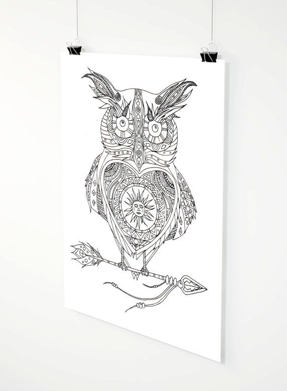 Solar Owl adult coloring page by ZuskaArt on Etsy