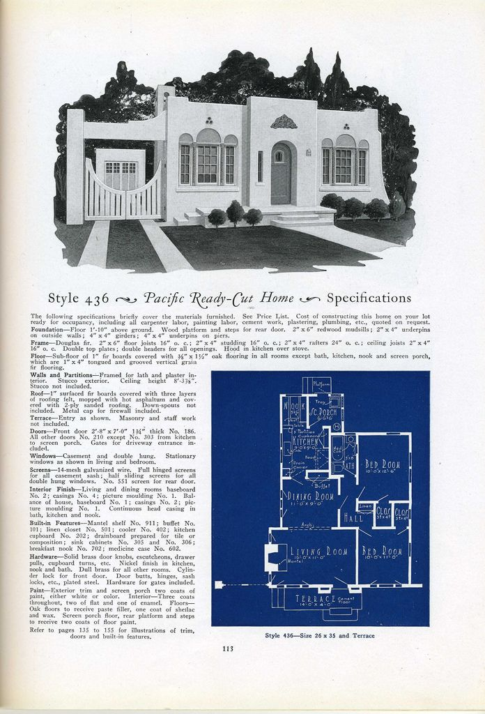 436 1925 pacific ready vintage house plans 1920s for 1925 bungalow floor plan