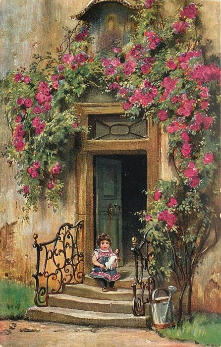 young girl with doll sitting on steps, red roses surround