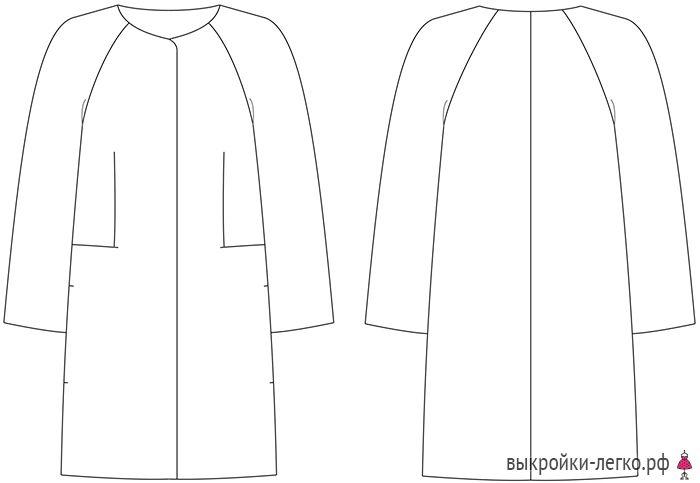 Готовая выкройка пальто-кокона. Технический рисунок