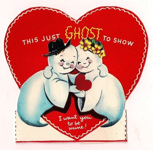 Old Vintage Halloween Theme Valentine Greeting Card w Spooky Ghost Sweethearts   eBay