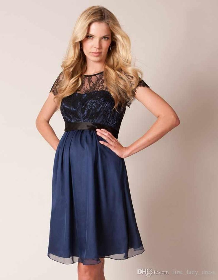 Maternity Wedding Dress Short Dark Blue Pregnant Evening Online With
