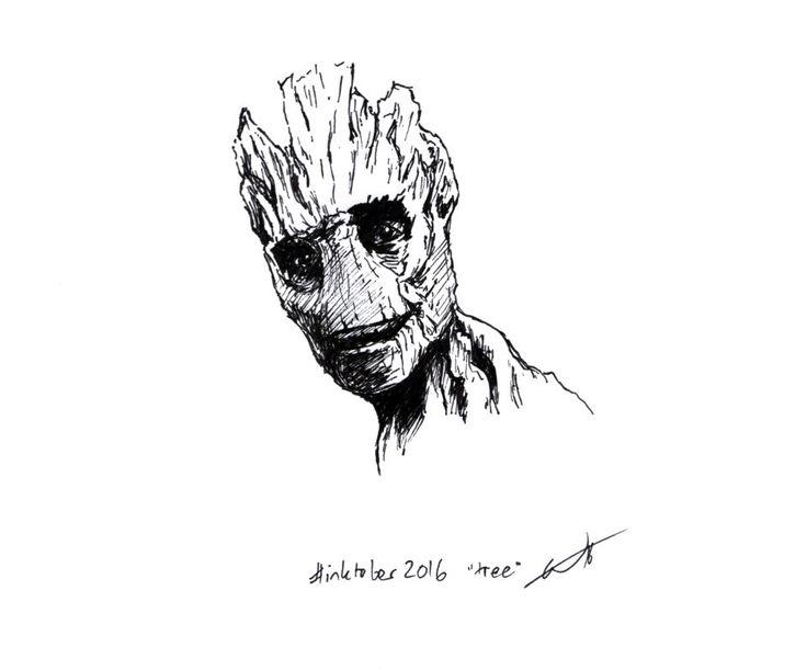 """Inktober 2016 art challenge day 14: """"tree"""". Groot, Guardians of the Galaxy. #inktober #inktober2016"""