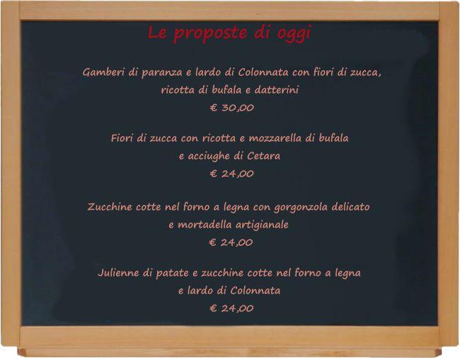 inFucina: Le proposte dello Chef