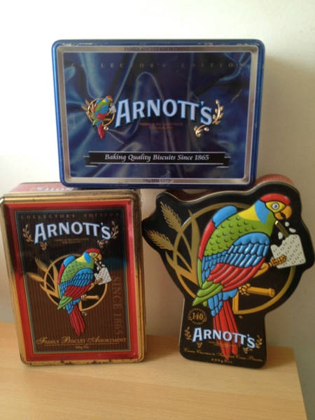 THREE ARNOTT'S BISCUIT TIN'S  Would love to find these today