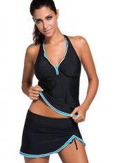 Printed V Neck Open Back Swimdress on sale only US$30.53 now, buy cheap Printed V Neck Open Back Swimdress at liligal.com