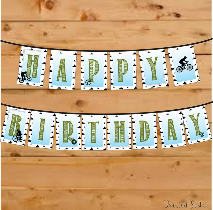 Happy Birthday Banner, Birthday Decor, Bicycle Birthday Banner, Bicycle Birthday Party, Mountain Bike, BMX party, Motorcross Birthday by TwistedSisterShop on Etsy