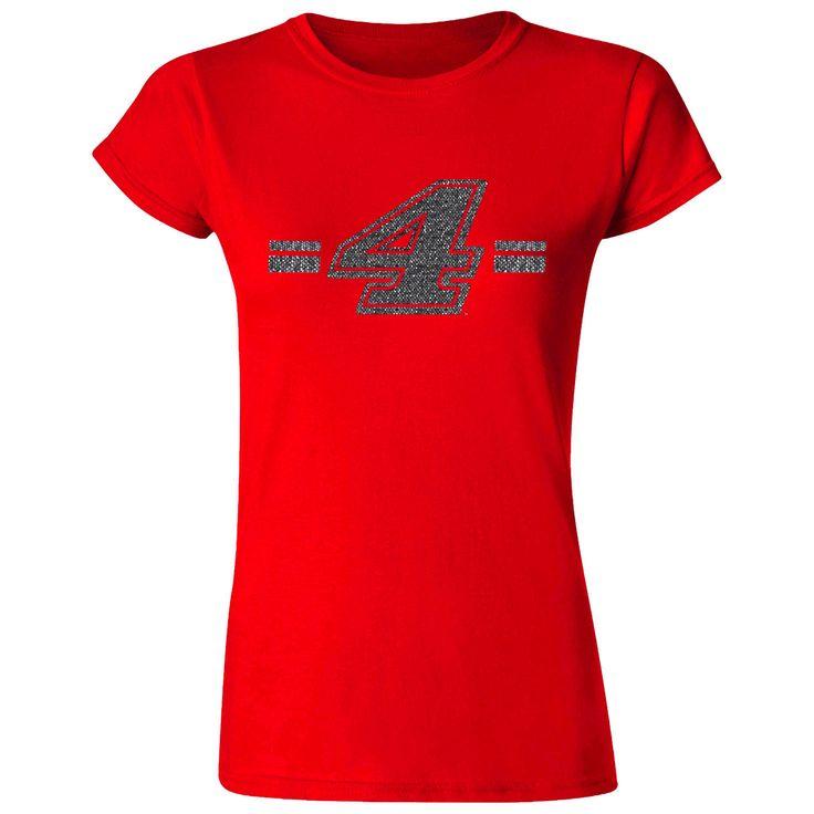 Kevin Harvick Checkered Flag Women's Glitter Girl T-Shirt – Red - $17.59