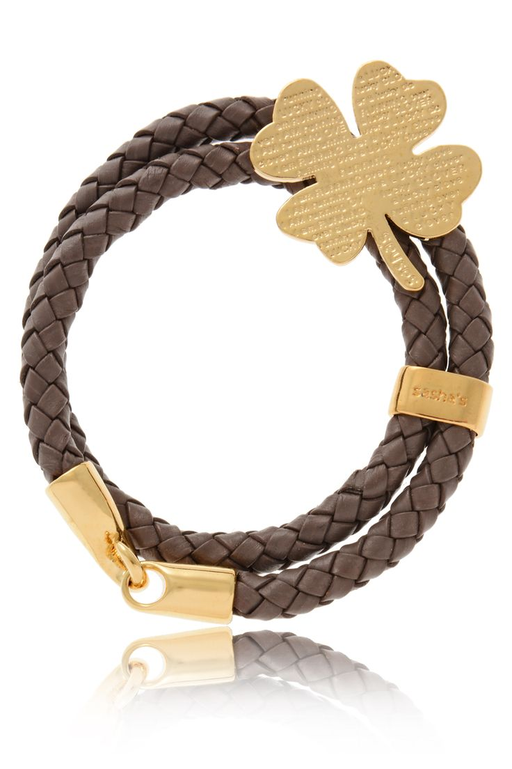 SASHA'S 	 LUCKY CLOVER Brown Leather Bracelet   Price: € 100.00