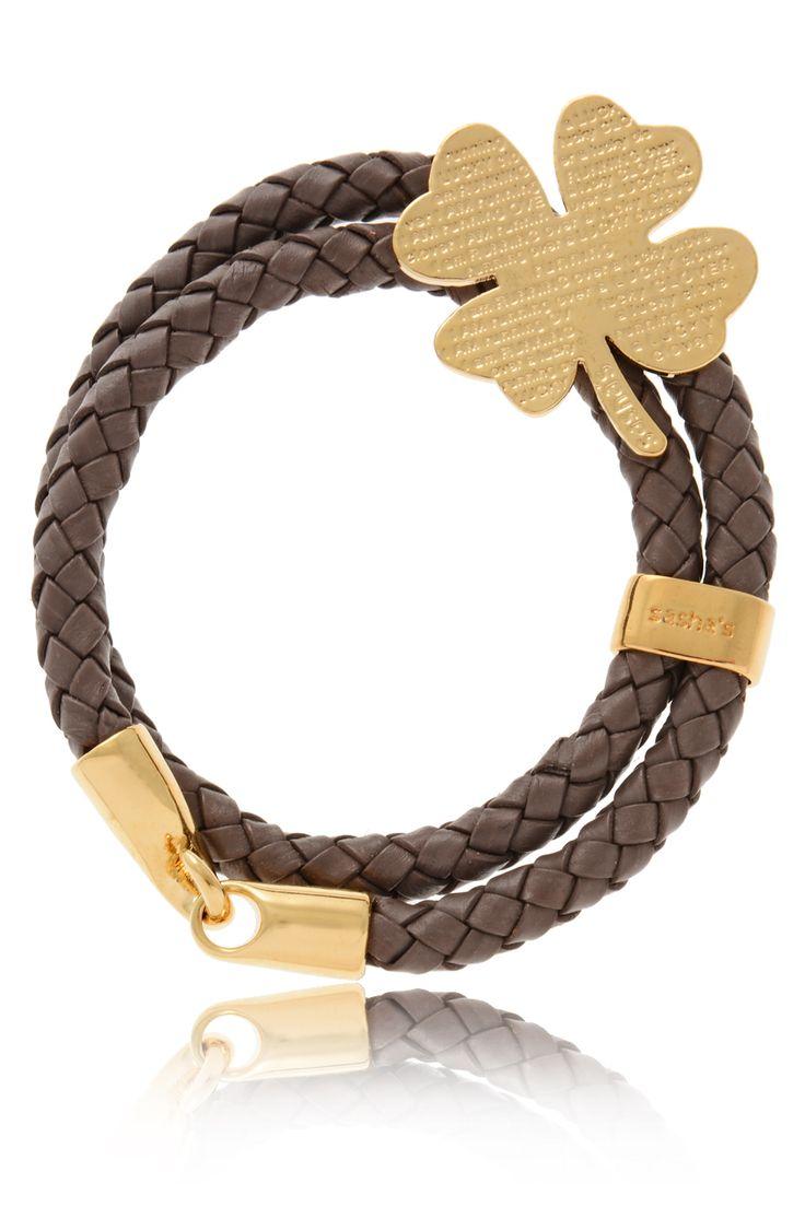 SASHA'S  LUCKY CLOVER Brown Leather Bracelet   Price: € 100.00