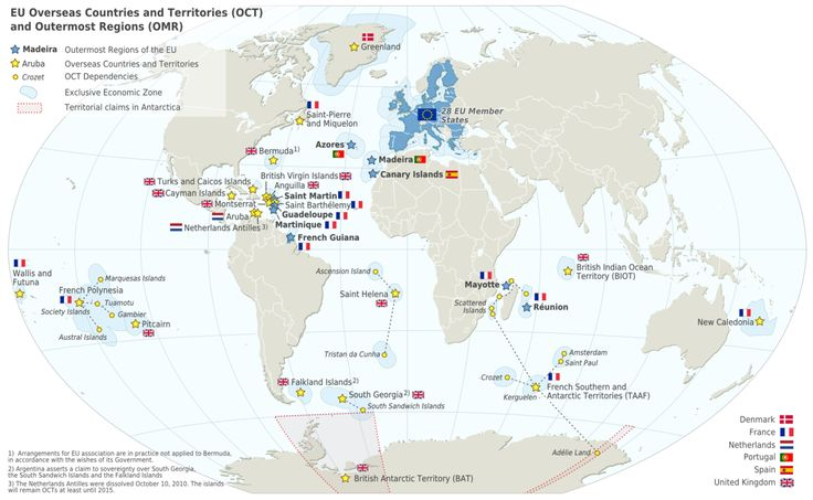 This #Eurographic presents the #EU Overseas Countries and Territories and Outermost Regions. Six Member States of EU: Denmark, France, Netherlands, Portugal, Spain and United Kingdom, are providing dependence to those overseas countries and territories. OCT nationals are European citizens.  These OCT are special members of European Union; there are historical, geographical and political reasons why they enjoy this special status.