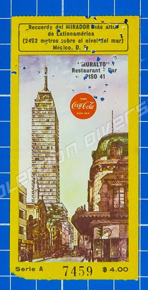 México - Old Ticket Entrance to Mirador Torre Latinoamericana Logo Coca Cola