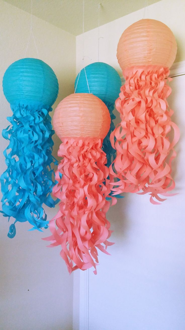 Caribbean Jellyfish Paper Lanterns- Set of 4
