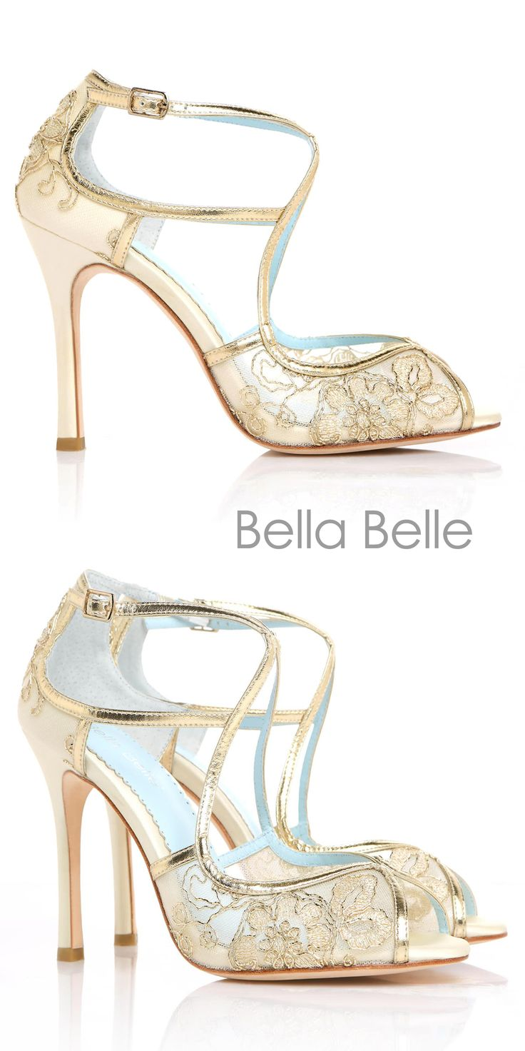 Bella Belle Embroidered Gold Lace Wedding Shoes with 'Something Blue' detail.
