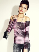 Red Stripe Modal Cotton Elastic Pleuche Off-The-Shoulder Women's Long Sleeve T-shirt