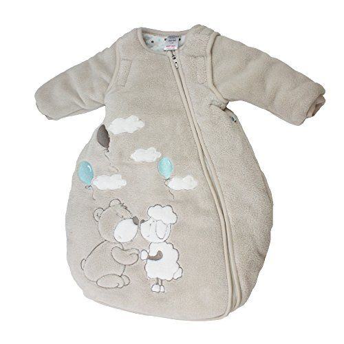 Jacky Teddy bébé unisexe, turbulette gigoteuse hiver, manches amovibles, beige, taille 74/80, 322501-99