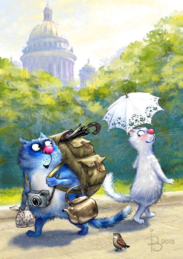 """Посмотреть иллюстрацию Рина З. - Приезжий). Из серии """"Котики в Питере"""""""