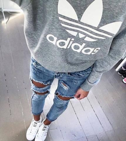 "Women Fashion ""Adidas"" Hooded Top Sweater Pullover Sweatshirt Hoodie"