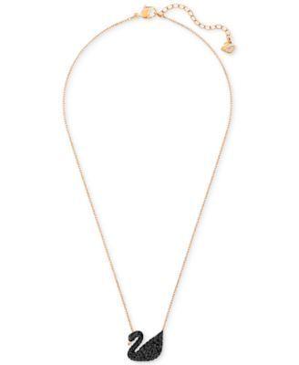 Swarovski Crystal Pave Swan Pendant Necklace - Gold