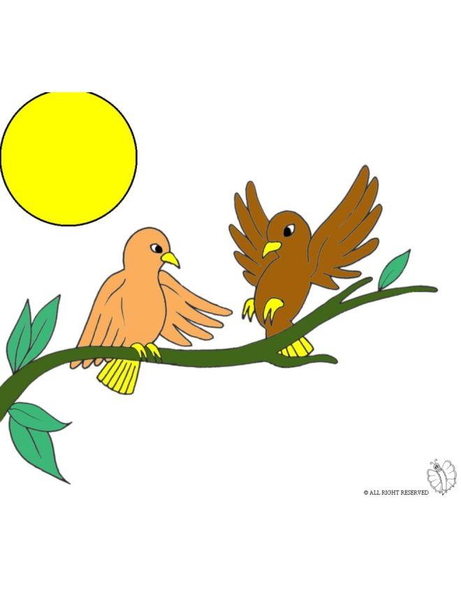 Disegno di uccelli sull 39 albero a colori per bambini gratis - Semplici disegni di uccelli ...
