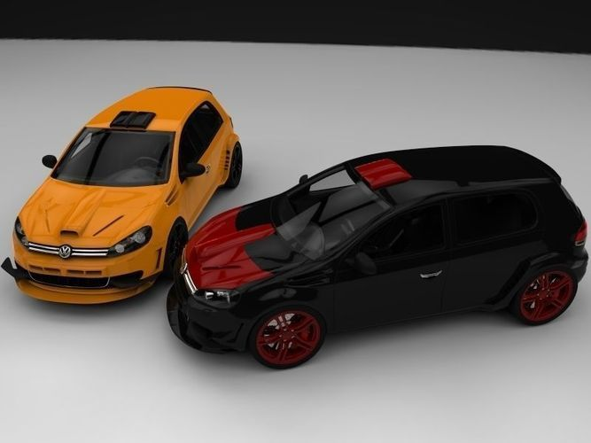 Vw Golf Mk6 With Racing Body Kit Free 3d Model Ready For Cg Projects Available Formats Other Autocad Dwg 3d Studio Ma Vw Golf Body Kit Volkswagen Golf