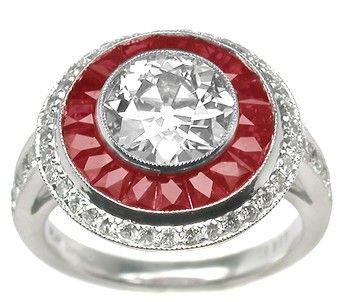 Art Deco Style 1.73ct Diamond Ruby Platinum Ring  Price: $9,750.00