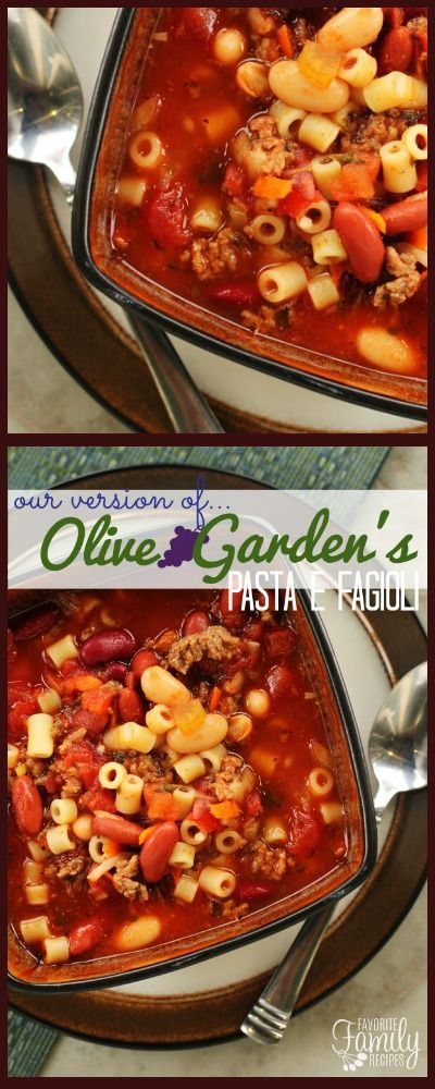 This Olive Garden Pasta e Fagioli Soup Copycat Recipe tastes just like the original. It is a hearty, Italian-seasoned soup easily made in a slow cooker. via @favfamilyrecipz