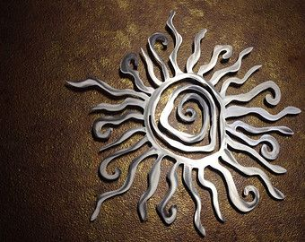 Sun Metal Wall Art - Tribal Sun - Sun Art - Metal Art - Spiral Sun - Healing Sun - Modern - Contemporary