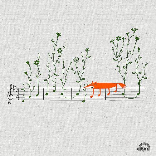 Fox music illustration by Heng Swee Lim #musicillustration