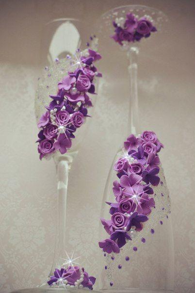Sale Wedding Set Wedding glasses Champagne Flutes, Wedding Toasting Flutes, Personalized Champagne Glasses  flowers сandles purple flowers