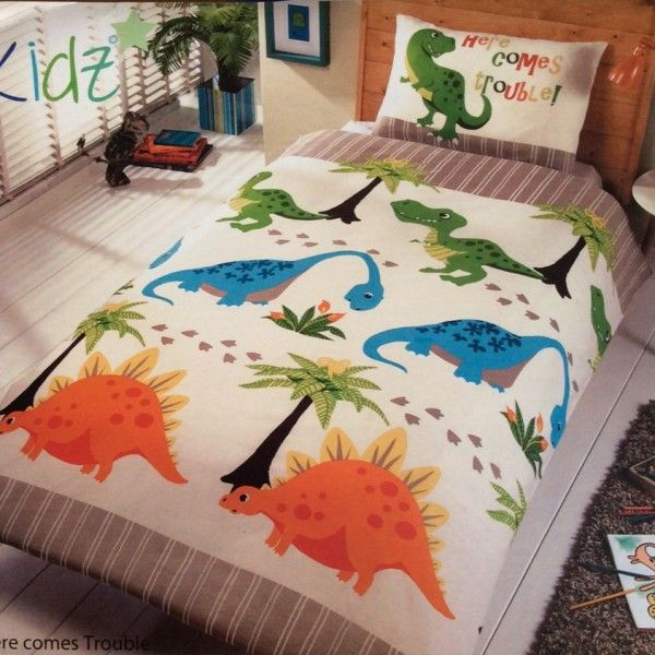 Here Comes Trouble Dinosaur Single Duvet Dinosaur Beddingdinosaur Bedroomchildrens