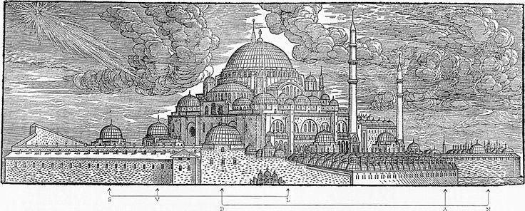 Süleymaniye Külliyesinin tahta baskısı - Melchior Lorck
