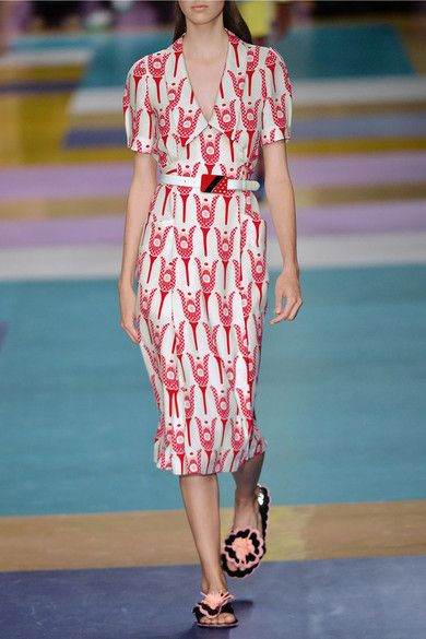 Miu Miu - Printed Crepe De Chine Wrap Midi Dress - Red - IT46