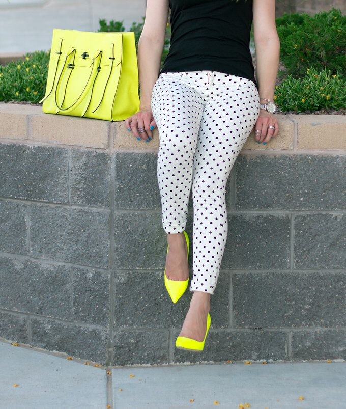 Neon Pop :: Polka Dot Jeans & Neon Accessories - Glamour-Zine