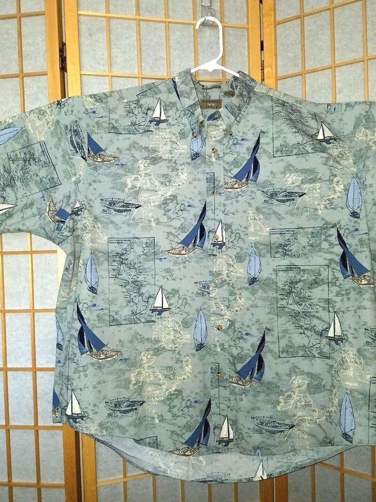 Natural Issue Wrinkle Free Men's sz XXL Shirt Sailboat Theme 100% Ctn Teal Blue #NATURALISSUE #ButtonFront