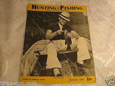 Hunting and Fishing Magazine Aug 1943 vintage 1940's