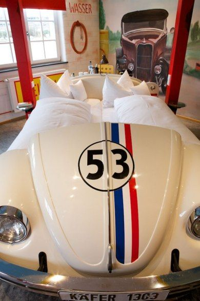 "amazing car-themed hotel—aptly named the V8 Hotel—on a trip to Stuttgart, Germany The Beetle Bed-no better car in which to house the ""tankstelle"" bed than the 1963 Volkswagen Beetle made famous by the movie, Herbie Fully Loaded. Ok, so the car is just a replica. But it's cool nonetheless (and makes a surprisingly comfortable bed)."
