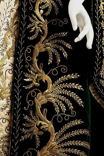 Detail of a gold embroidered Russian court dress of 1900.