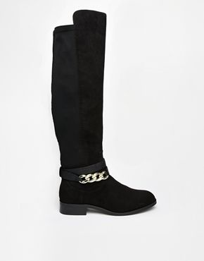 River Island Fetchup Chain Detail Stretch Knee Boots