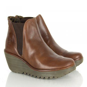 Fly London Tan Yoss Women's Patent Wedge Ankle Boot