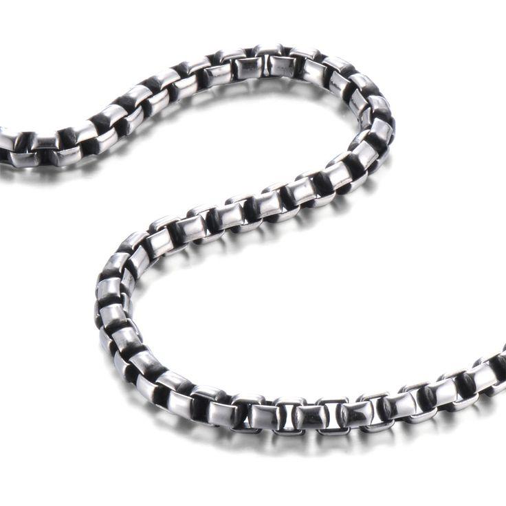 R&B Schmuck Herren Halskette Edelstahl - Kollektion Bad Ass - Venetian Stil, Glatt (7mm, Silber, Schwarz): 24,90€