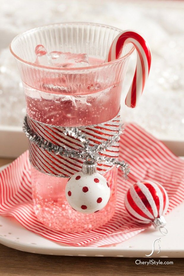 {Non-Alcoholic} Candy Cane Spritzer: Part Peppermint Patty, part Shirley Temple, this delicious Spritzer is the perfect kids Christmas drink.