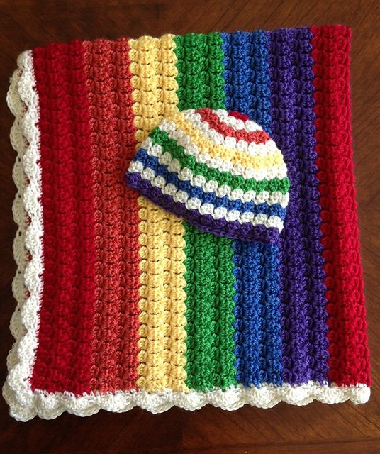 Ravelry: Colors! Rainbow Baby Blanket and Hat Set pattern by Sara Leighton