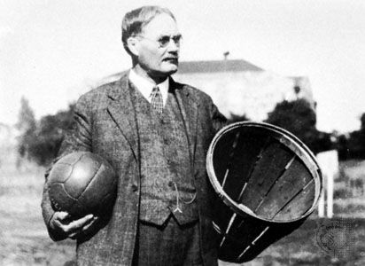 John Naismith and the first basketball equipment: a ball and a basket for peaches.