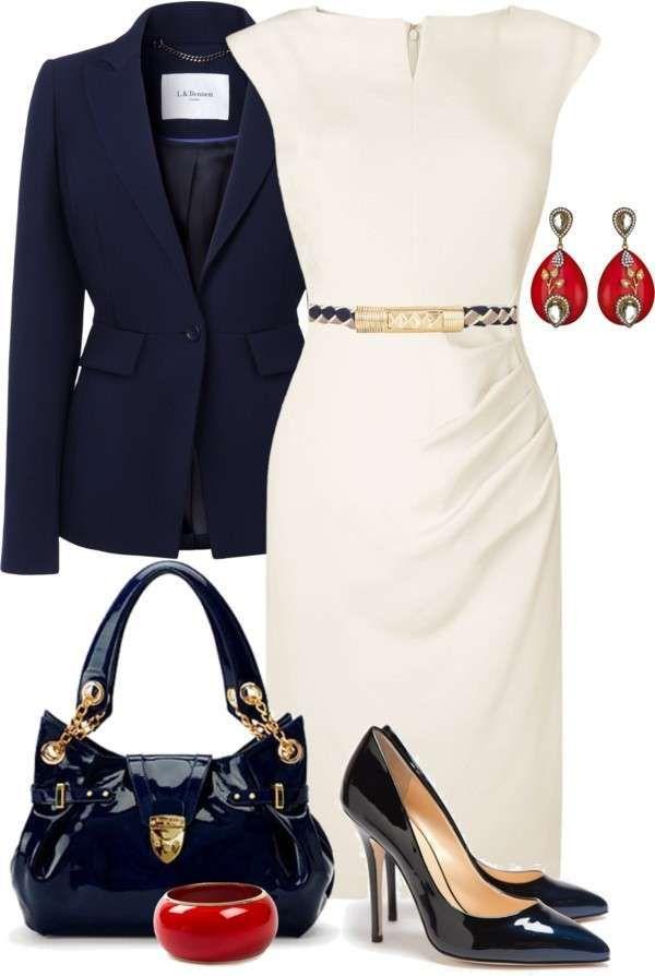 Look elegante con tubino bianco - Look del giorno dedicato alle fashion victim che amano vestire con capi eleganti e molto femminili. Gli abiti a tubino sono un must have per ogni fashion victim, perciò ecco come rendere meno impegnativo un modello bianco abbinando giacca blu, scarpe e borsa in coordinato, e bijoux rossi. Vi piace questo look?