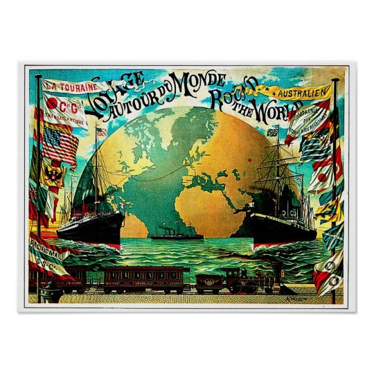 Around The World Voyage Vintage Travel Poster Custom (20.24″ x 15…