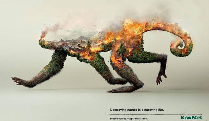 campañas de impacto La denuncia de un mono en llamas Con tres ilustraciones llamativas, la ONG alemana Robin Wood advierte de los efectos de la acción humana y el cambio climático en la degradación del medio ambiente Ilustración perteneciente a la campaña de la Ong Robin Wood.
