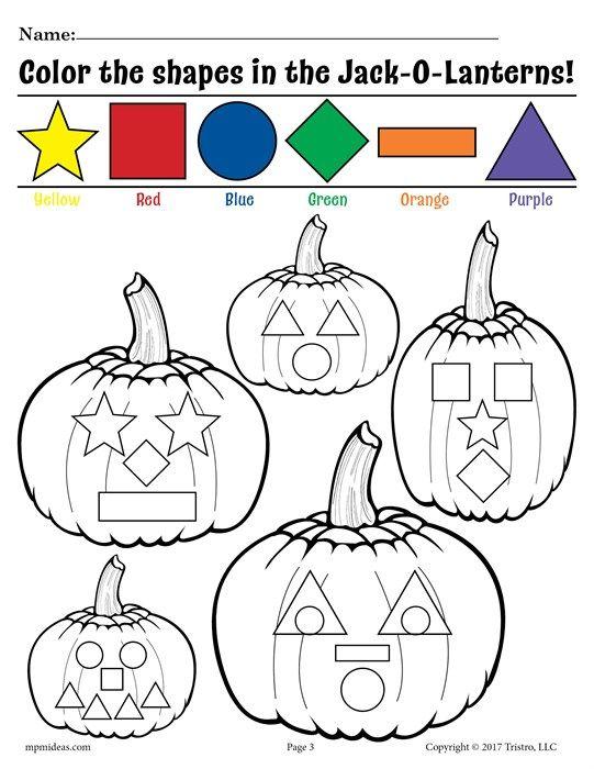 Pumpkin Preschool Shapes Coloring Page & Shapes Worksheet